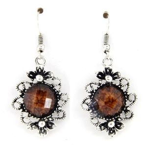 Brown Jeweled Dangle Earrings